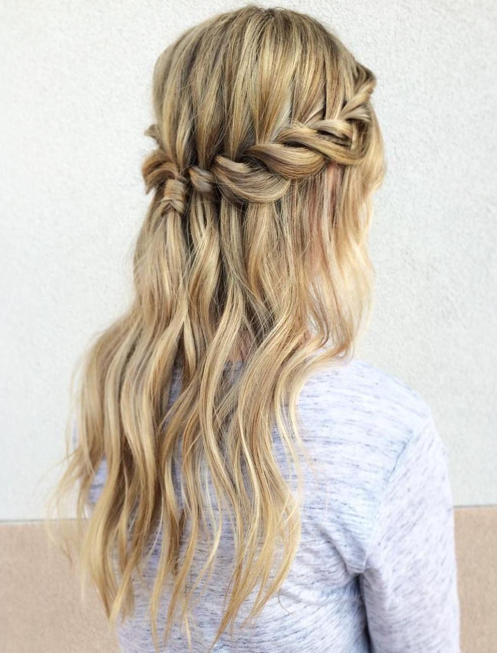 flowing waterfall braid styles in hair pinterest