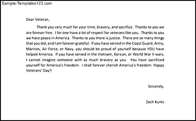 thank you letters to veterans example sample templates