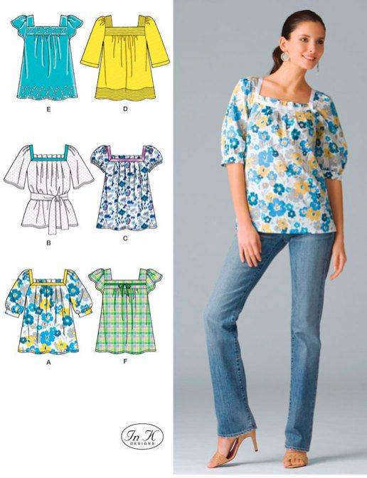 Misses PEASANT TOP Sewing Pattern - Plus Size Tunic Tops & Belt - 5 ...