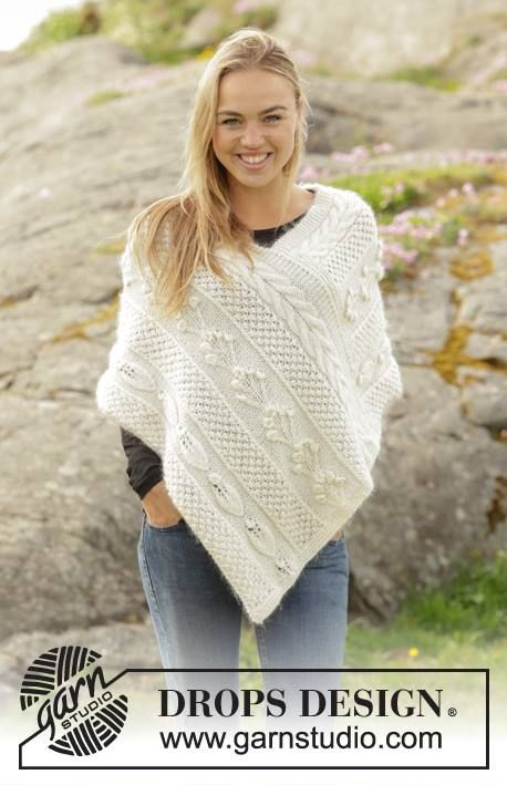 Knit Poncho In Drops Alpaca Brushed Alpaca Silk Get This Free