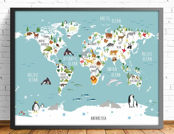 Nusery world mapenglish animal world map4 sizes included english world map you are buying a digital product in high quality printable illustration 4 sizes gumiabroncs Gallery