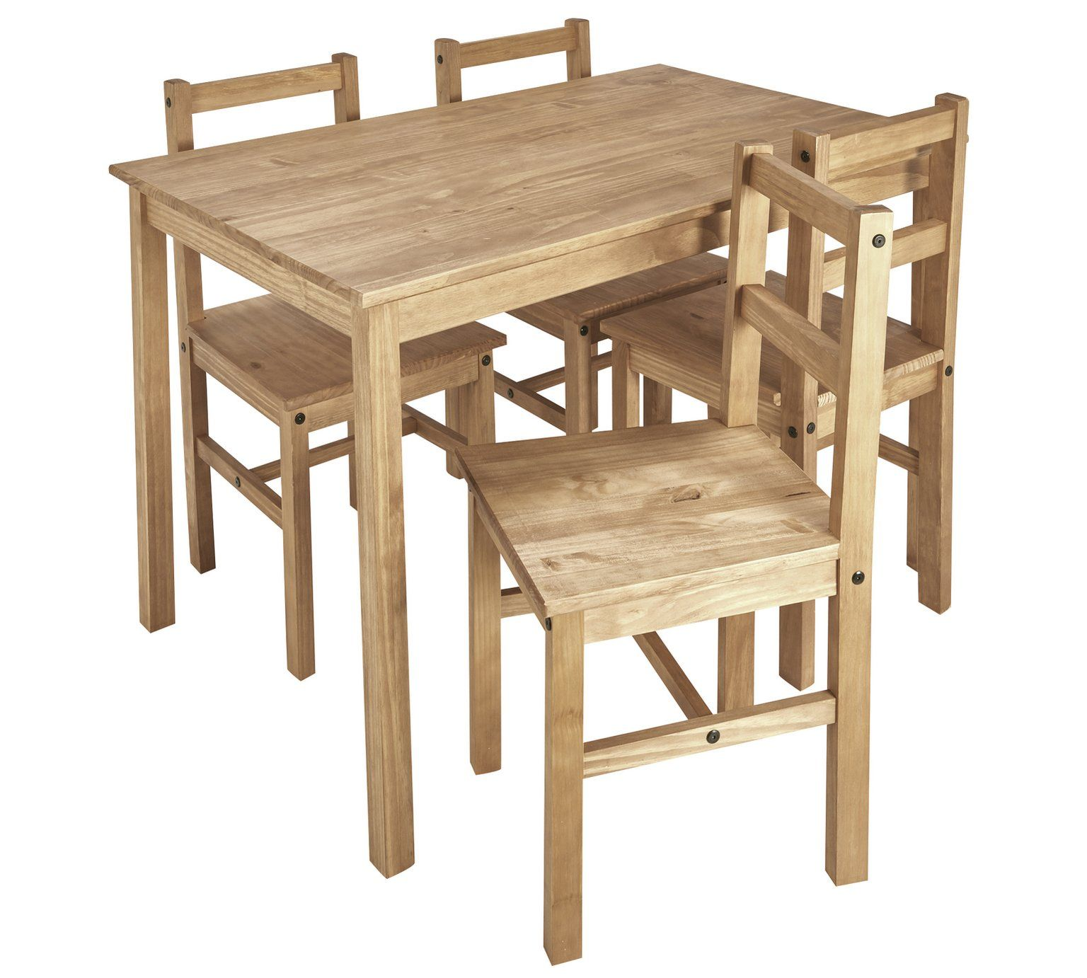 Buy Argos Home Raye Solid Wood Dining Table & 4 Chairs