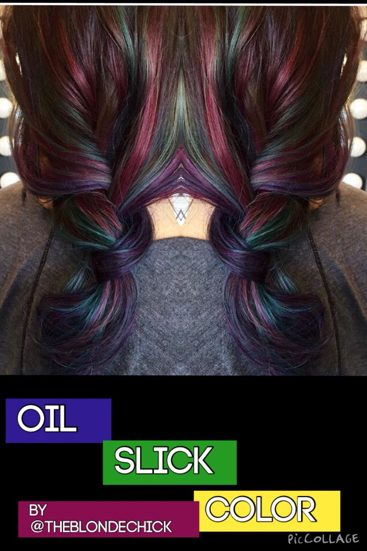 Balayage highlights oil slick color blue hair purple hair green