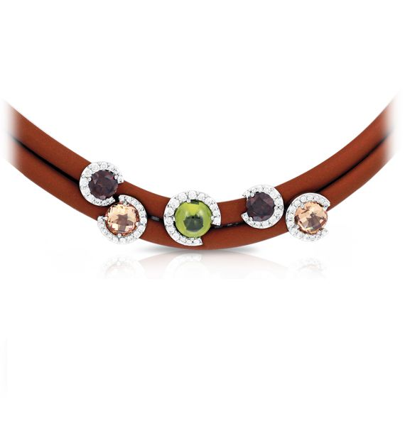 Element necklace by Belle Etoile. Fine Italian rubber, Cultured Peridot, Citrine, and Garnet, Pavé-set CZ gemstones, 925 Sterling Silver, Rhodium Plated, Nickel-free, Latex-free for $395 at Zia Jewelry