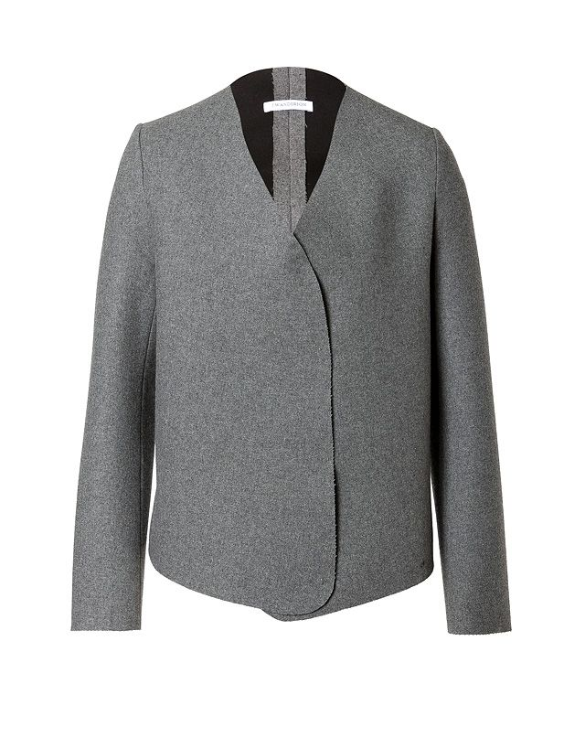 A contemporary choice for taking through the seasons, J.W.Anderson's collarless jacket features a chic grey heather hue and raw finish edges #Stylebop