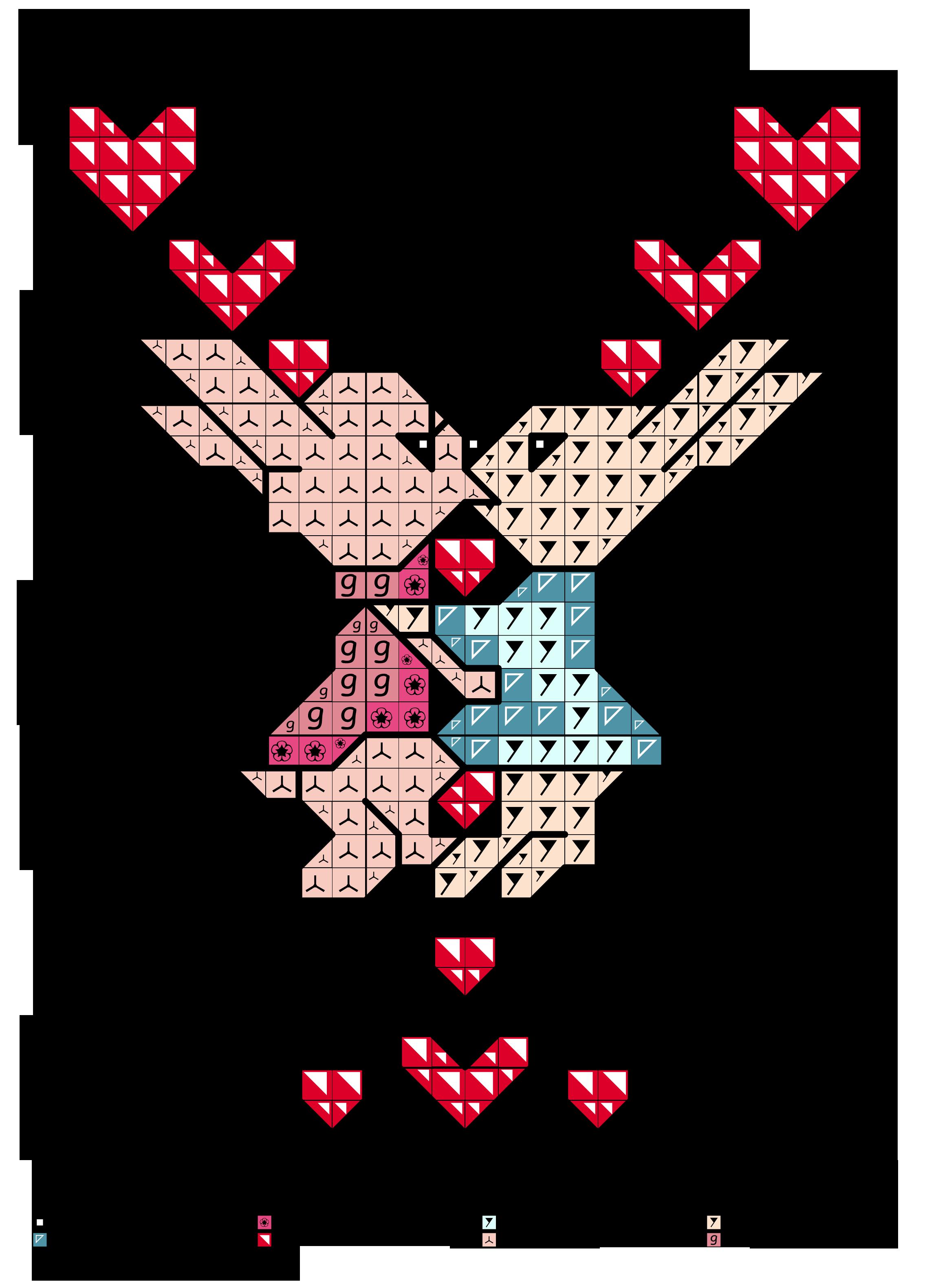 alfabeto maiuscolo formato da cuoricini con coppia di coniglietti Y ...