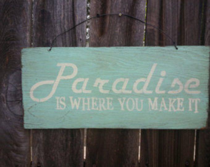 Beach Decor Beach Sign Beach House Decor Paradise Is Where We