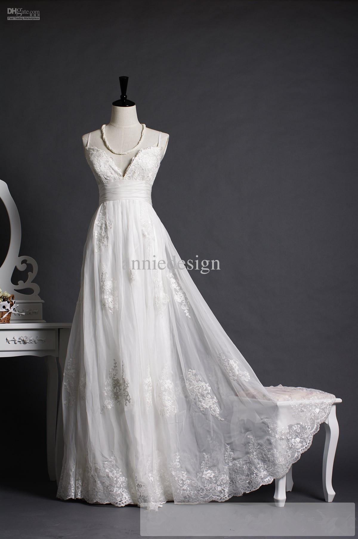 Custom white ivory spaghetti straps vneck empire waist lace