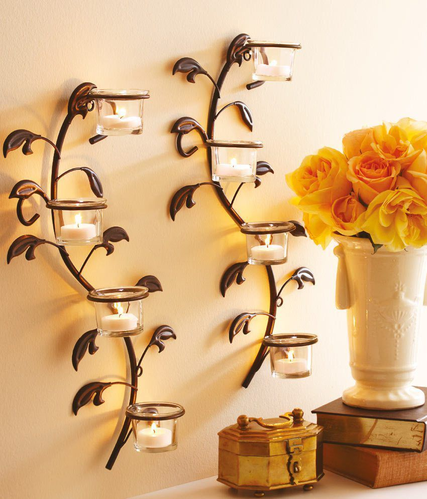Hosley Wall Sconces, Glass Candle Holders With Free   Toddler ...