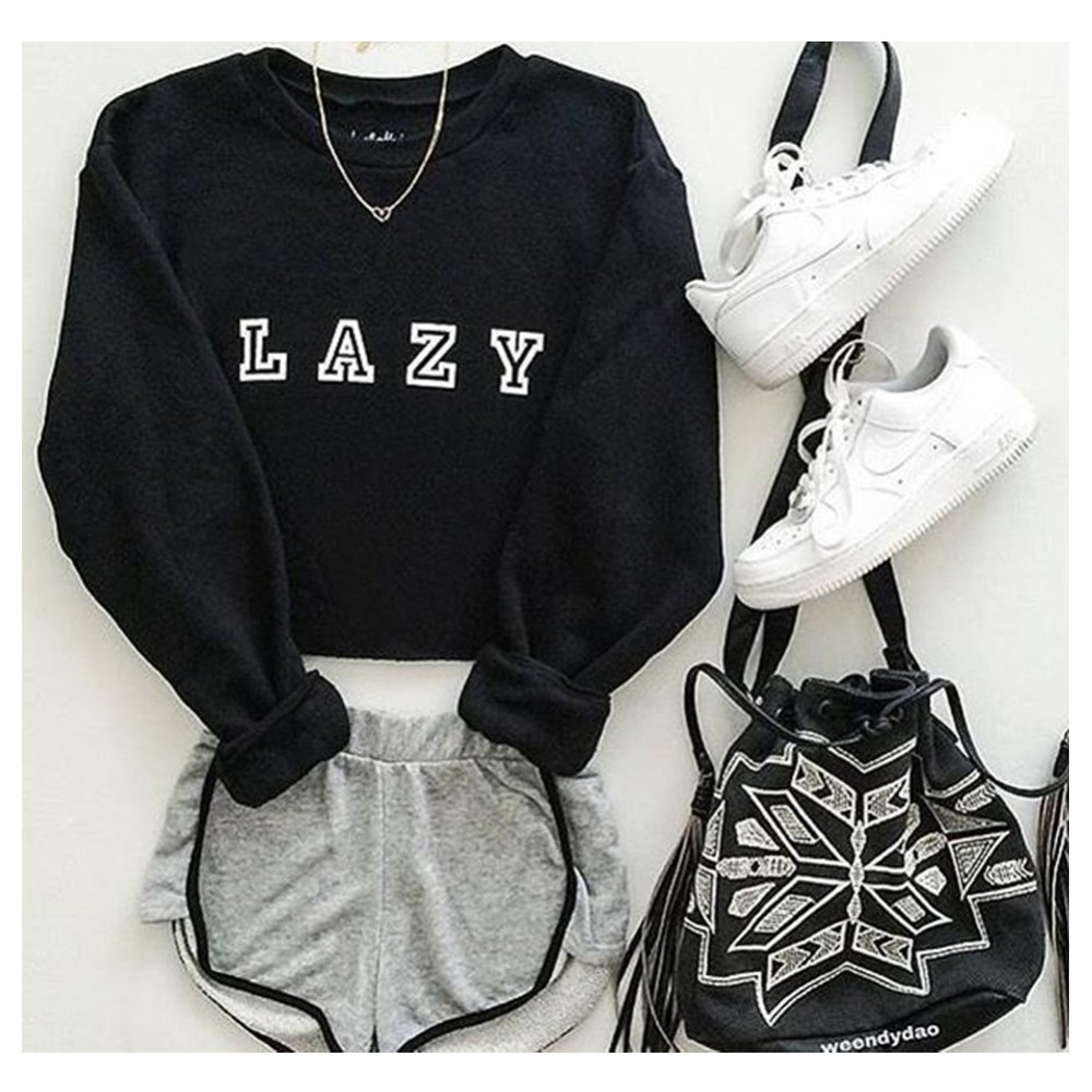 Lazy Graphic Black Hoody Sweatshirts