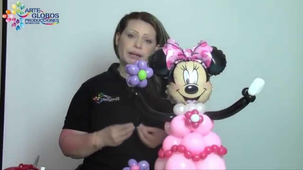 Detalles Centro de Mesa Minnie Mouse. Curso de Globos