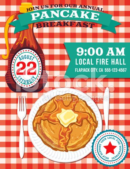 poster or flyer for a pancake breakfast fundraiser event on a red