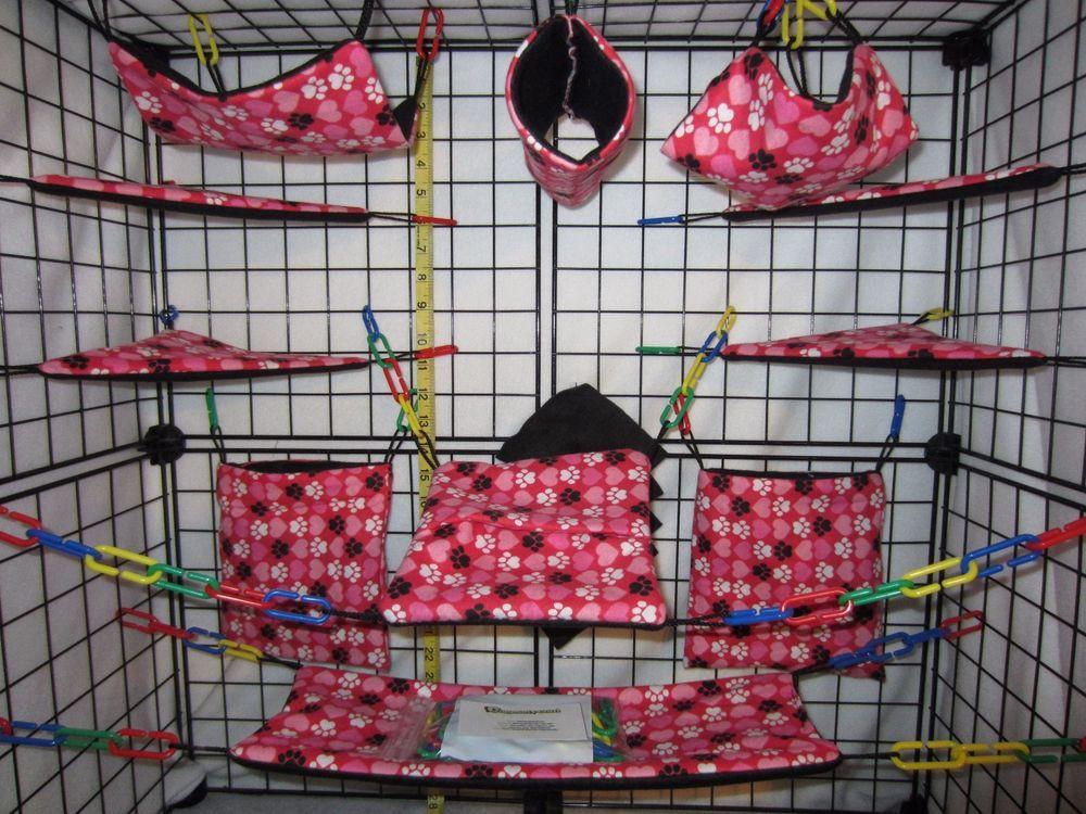 17 Pc Bedding Sugar Glider Cage Set Rat Toys Red Paws Pet