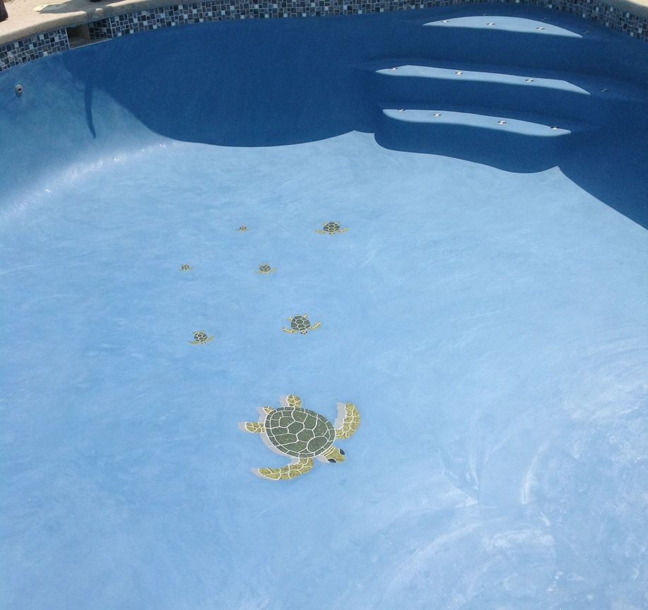 terrific sea turtle mosaic for pools with fiberglass inground