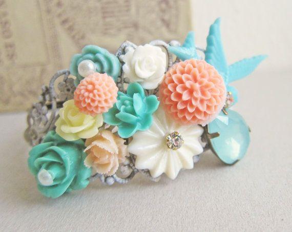 Items similar to Wedding Bracelet Bridal Customised Bridesmaid Gift Cuff Bracelet for Bride Flower Corsage Floral Collage Bangle Pastel Romantic Woodland on Etsy #turquoisecoralweddings