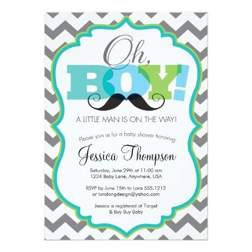 little man - a customizable baby shower invitation | boys, chevron, Baby shower invitations