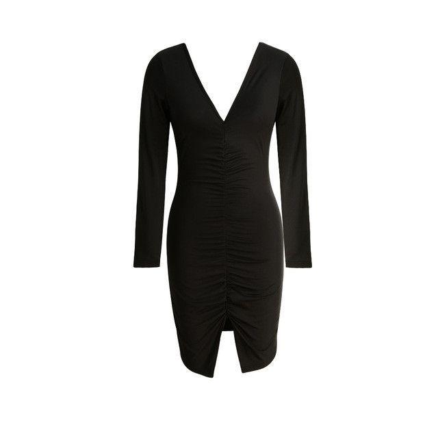 New Women Sexy Dress Deep V Neck Long Sleeve Sheath Club Party Dresses Ruched Split Hem Bandage Dress