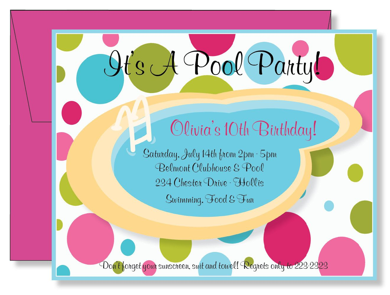 girl pool party birthday invitations - Google Search | pool party ...