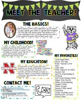 Meet The Teacher Newsletter Editable Meet The Teacher Teaching School Classroom