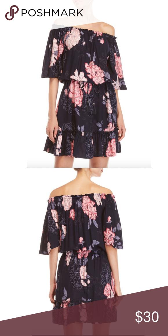 90d4da9c5252ae NWT Blue Island Off-the-Shoulder Floral Dress
