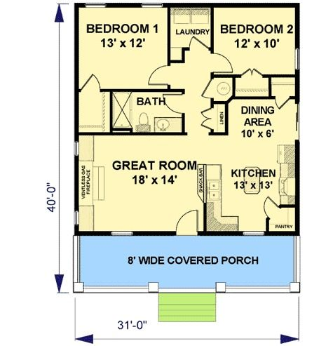 Plan 2596DH: Cozy 2 Bed Cottage House Plan | Cottage house, Cozy ...