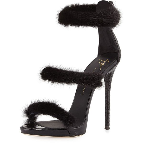 66e0c0756adf Giuseppe Zanotti Strappy Mink Fur 110mm Sandal (7.155 DKK) ❤ liked on  Polyvore featuring shoes