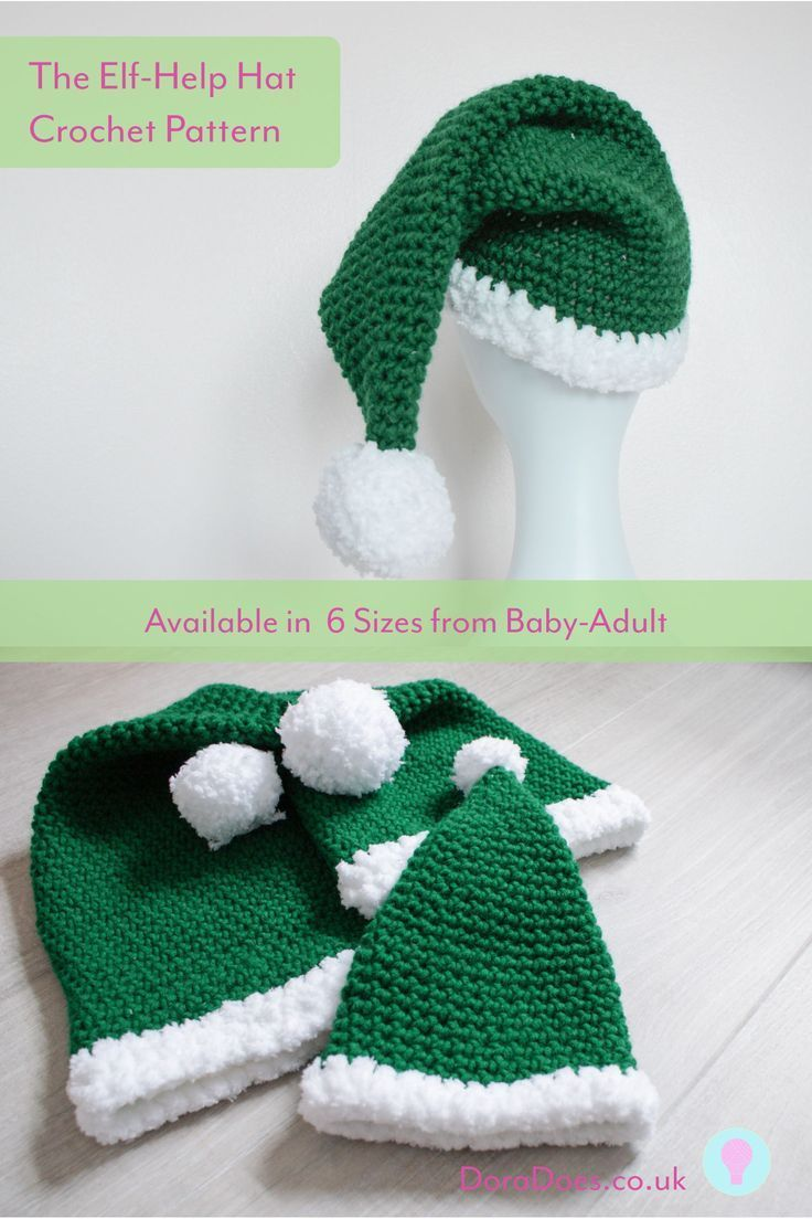 Crochet Elf Hat Pattern - from Baby to Adult Sizes! Everyone needs a little elf-help over Christmas! This is an easy quick elf hat pattern, made using chunky yarn and available in 6 sizes, from baby through adult. The Toddler Pattern is free on the blog!! #christmascrochet #christmashat #elfhat #crochetpattern #freecrochet #crochet