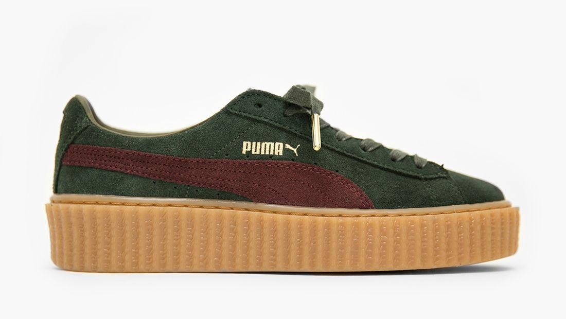 Puma X Rihanna Fenty Baskets creepers Vert et bordeaux