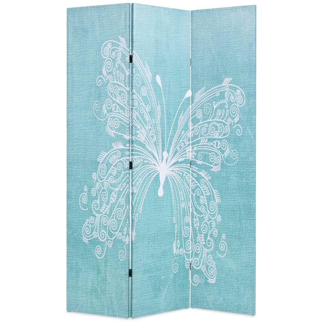 vidaXL kék pillangó mintás paraván 120 x 170 cm