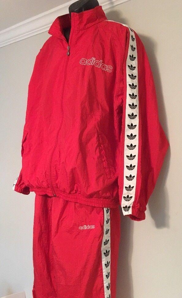 cb97b8e3613b Vintage Adidas Tracksuit Red Trefoil XL Jacket Pants Unlined Nylon  adidas   TracksuitsSweats