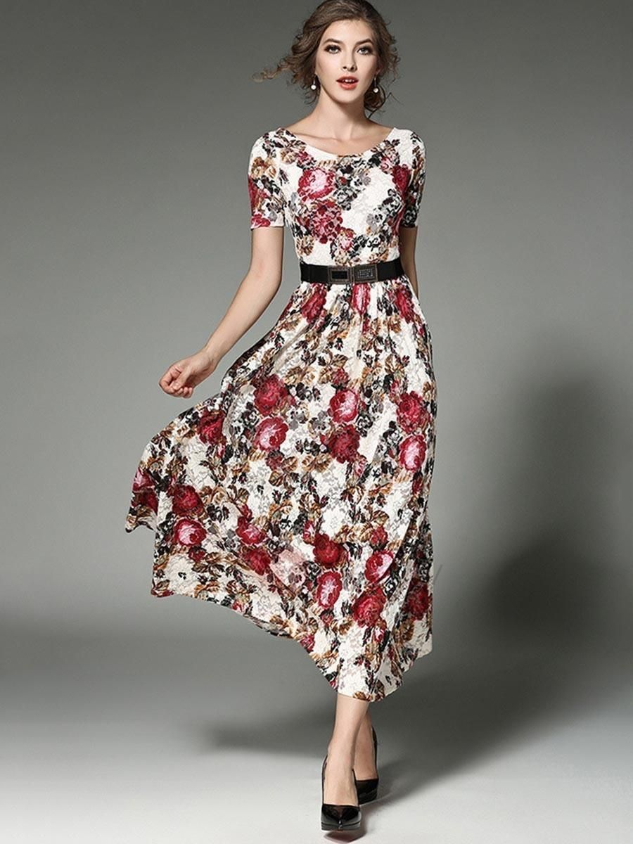 Tidebuy tidebuy floral imprint short sleeve womens maxi dress