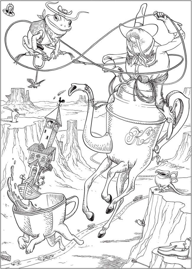 Creative Haven Bizarro Land Coloring Book By Bizarro Cartoonist Dan Piraro Cute Coloring Pages Detailed Coloring Pages Dover Coloring Pages