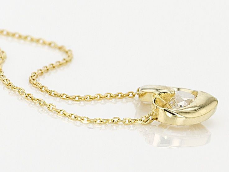 White Cubic Zirconia 10k Yellow Gold Heart Necklace 43ctw Blg259 Heart Of Gold Diamond Simulant