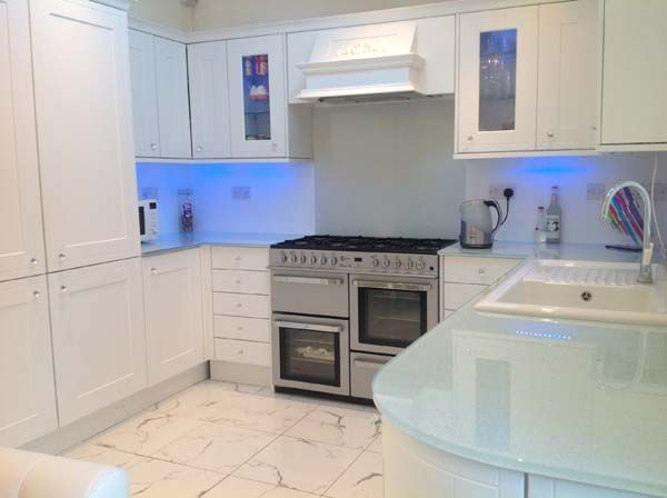 White Kitchen Worktops snow white kitchen glass worktops and splashbackcreoglass
