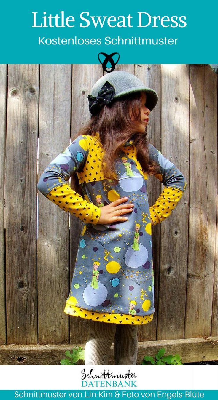 Little Sweat Dress Lin-Kim nähen kostenloses Schnittmuster Kleid Kinder Mädchen Jersey