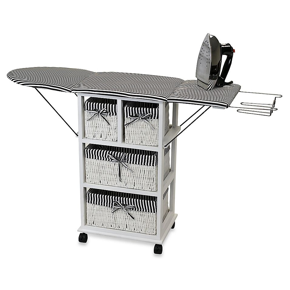 Rolling Ironing Board Station With Storage White In 2020 Ironing