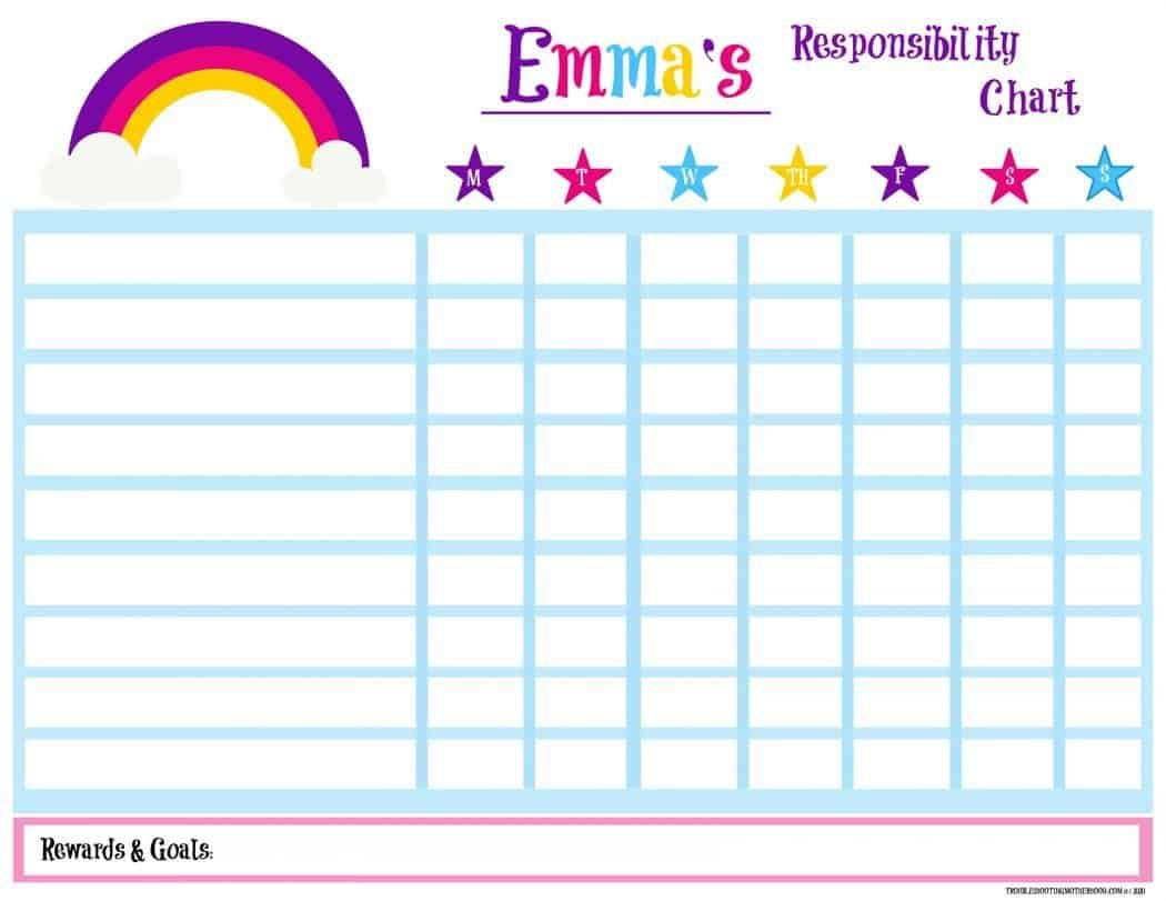 Free Printable Rainbow Responsibility Chart For Kids Keep