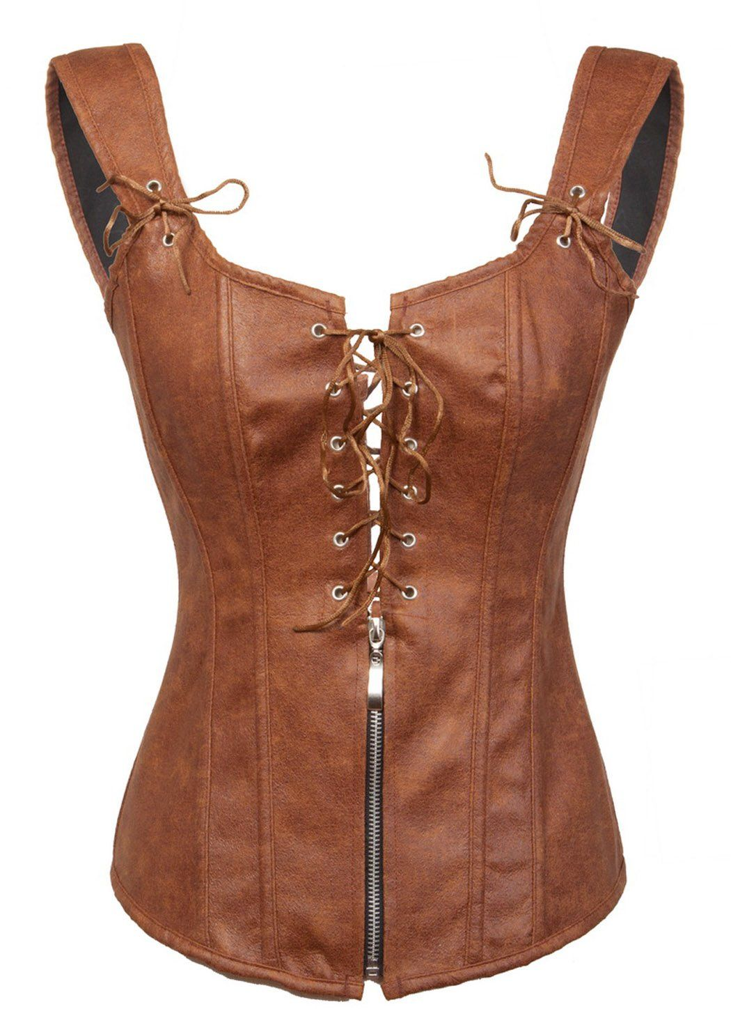 eb0f7baea0 Amazon.com  BSLINGERIE® Womens Black Faux Leather Wetlook Bustier Corset   Clothing