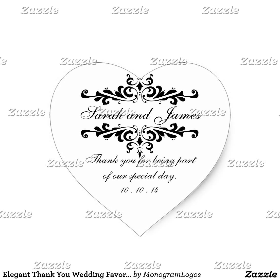 Elegant Thank You Wedding Favor Stickers Heart | Wedding ideas ...