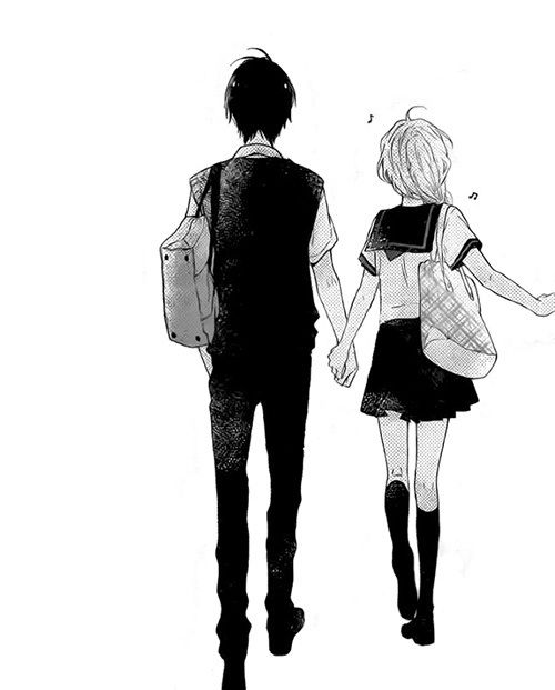 Anime couple walking together