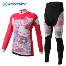 d2bbb056a Hello Kitty Winter Thermal Fleece 2017 Cycling Jersey Women Long Sleeve  Bicycle Cycling Clothing Bike Wear