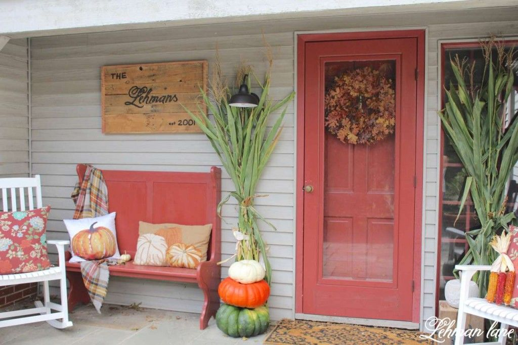 Fall Front Porch & Fall Outdoor Hop Porch decorating
