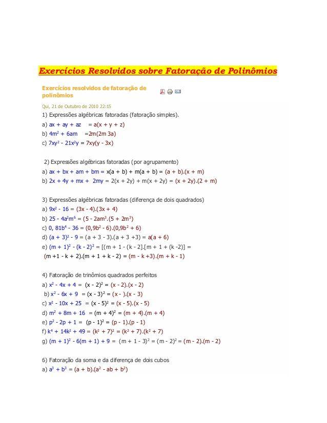 Exercícios Resolvidos sobre Fatoração de Polinômios Exercícios ...