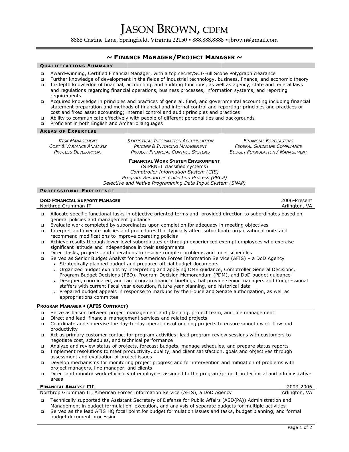 resume sle for project managers business project
