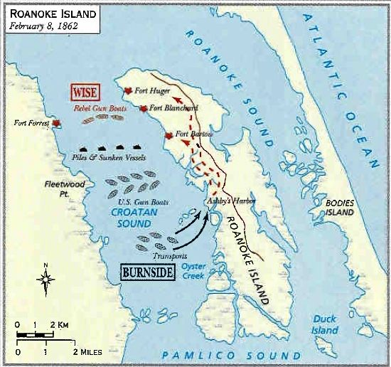 The Battle Of Roanoke Island American Civil War Fort Sumter To - Fort sumter on us map