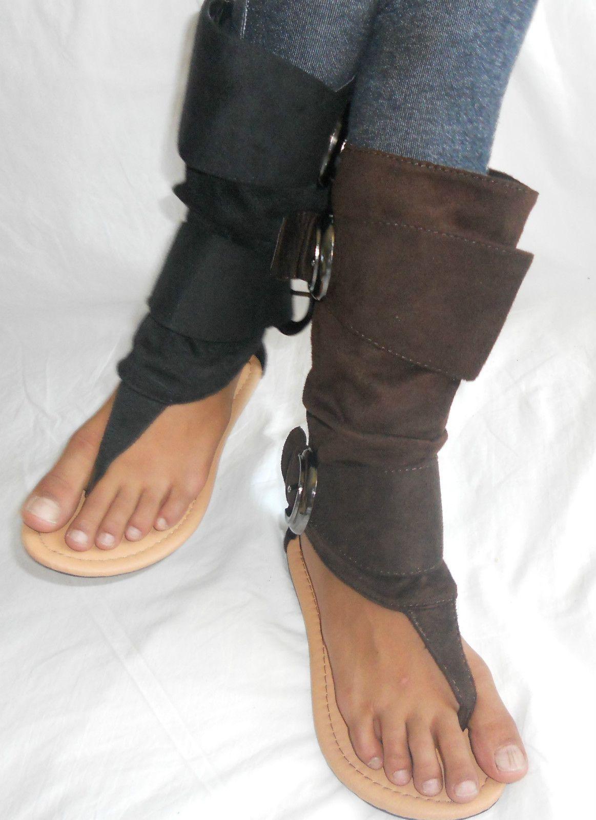 Black boot sandals - Kids Girls High Top Flat Thong Sandal Summer Boot Shoes Black Brown 9 13