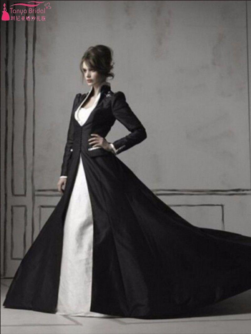 9a9e14e7e4 Real Gothic Beaded White  Ivory And Black Wedding Dresses Long Sleeve Black  Taffeta Coat Elegant Wedding Gowns robe de mariage