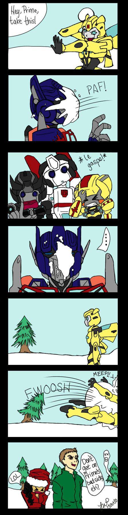 Transformer Snowball Fight by Dubnoreix on DeviantArt