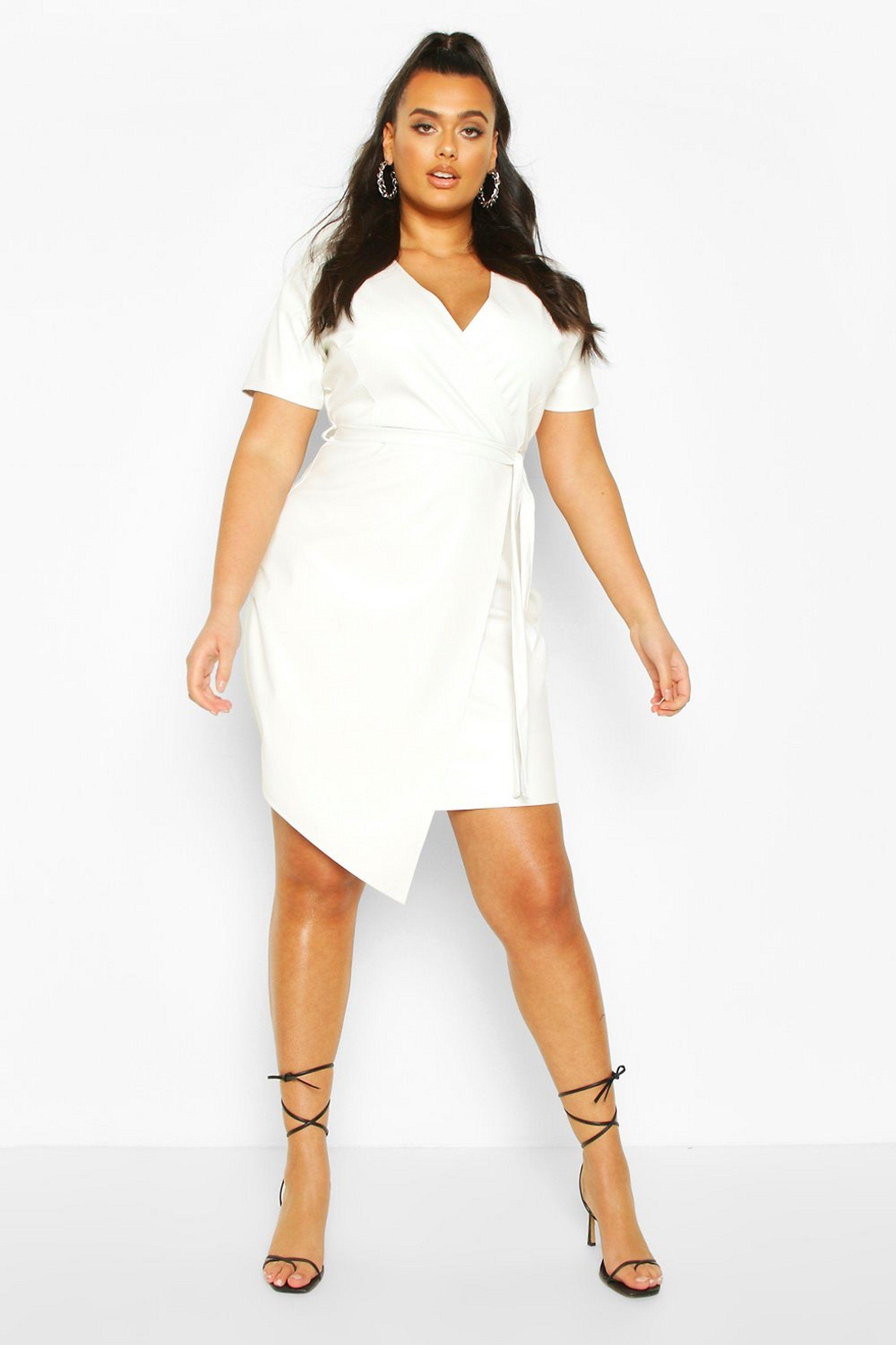 Plus Leather Look Wrap Dress Boohoo Wrap Dress Dresses Bodycon Fashion [ 3272 x 2181 Pixel ]