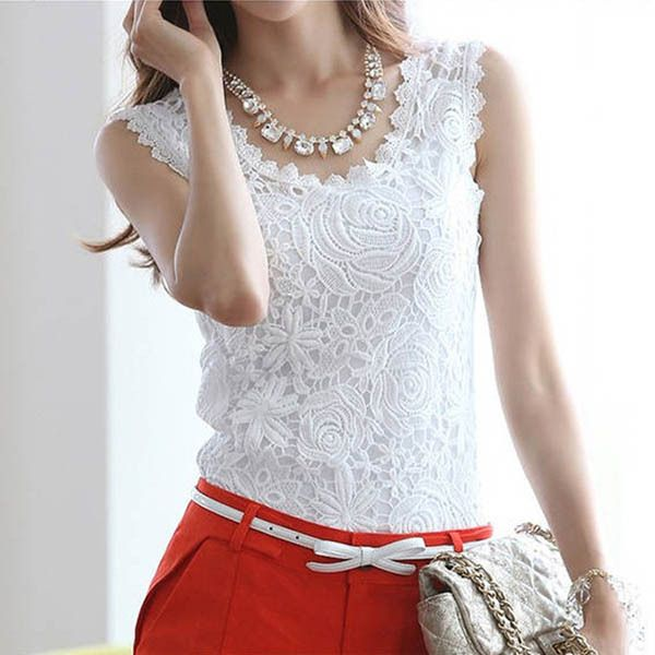 794046cef89 Click to Buy    Summer Women Blouse Casual Lace Cami Vest Top Tank ...